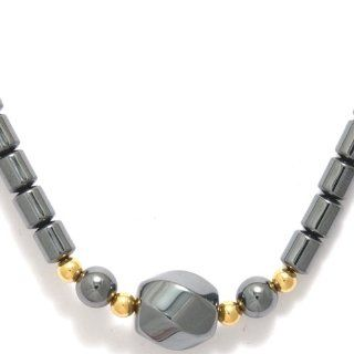 Shipwreck Beads Hematite 17 Inch Necklace with 3 Rounds 1 Twisted Bead