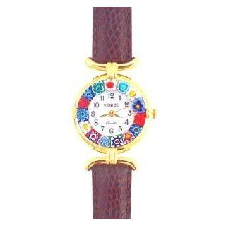 Venezia Millefiori Watch   Brown Band & Gold Watches