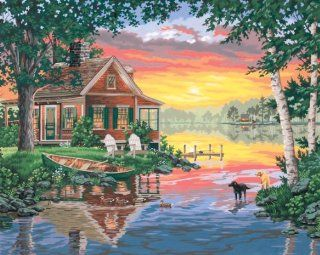 Dimensions Needlecrafts Paintworks Paint By Number, Sunset Cabin   Childrens Paint By Number Kits