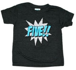 Kapow Number Five Shirt 5th Birthday Shirt (Black) Clothing