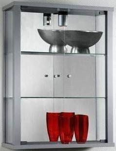 Glash�ngevitrine Glasvitrine Spiegel Beleuchtung H�ngevitrine Silber Alu: Küche & Haushalt