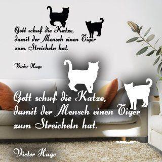 """Wandkings Wandtattoo """"Gott schuf die Katze, damit der Mensch einen Tiger zum Streicheln hat. (Victor Hugo)"""" 50 x 35 cm schwarz   erh�ltlich in 33 Farben: Küche & Haushalt"""