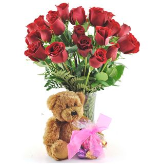 (Valentine's Day Pre order) Two Dozen Red Roses with Godiva Truffles, Plush Teddy Bear and Vase Sweets in Bloom Pre Order Flowers