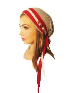 ShariRose Pre Tied Head Scarf Tichel Taupe Stripe Red Wrap White Lace Coconut Buttons