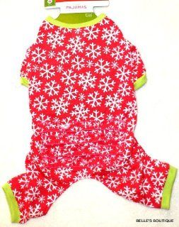 GIRL DOG SNOWFLAKE PAJAMAS Cherry Red w/ Ruffled Bottom Holiday Winter SMALL : Pet Shirts : Pet Supplies