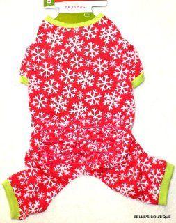 GIRL DOG SNOWFLAKE PAJAMAS Cherry Red w/ Ruffled Bottom Holiday Winter SMALL : Pet Shirts : Pet Supplies