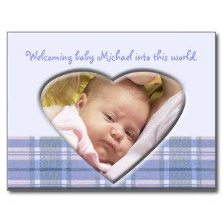 Newborn Baby Boy Announcement Tempate Post Cards