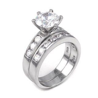 Ladies 925 Sterling Silver Rhodium Finish Round Cut CZ Bridal Wedding Engagement Ring Set Size 6 Jewelry