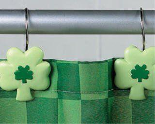 Shamrock SHOWER CURTAIN HOOKS rings St. Patrick's Day saint pat's patrick's paddy's bathroom bath room Home Decor   Irish Shower Hooks