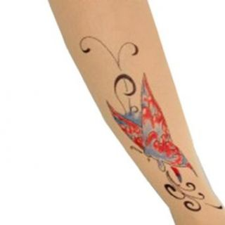 SACAS Sexy Red Blue Butterfly Tattoo Ankle Print Sheer Tights XS  M