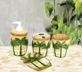 Palm Tree Tropical Bath Set Bathroom Accessories Decor