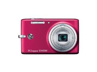 GE E1450W RD 14.1MP Digital Camera with 5X Optical Zoom and 2.7 Inch LCD with Auto Brightness (Red) : Point And Shoot Digital Cameras : Camera & Photo