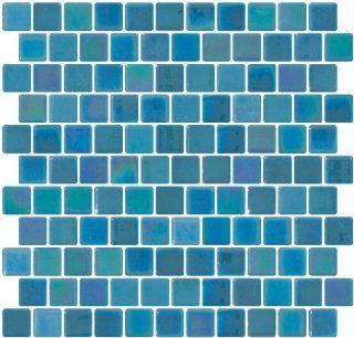 Susan Jablon Mosaics   1 Inch Aqua Blue Iridescent Recycled Glass Tile Reset In Offset Layout