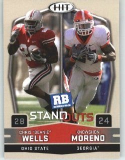 2009 Sage HIT 53 Knowshon Moreno & Chris Beanie Wells (Top 2009 Running Backs) First Card of the 2009 NFL Rookies   Shipped in a Protectective Display Case: Sports Collectibles