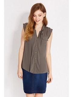 Oasis Plain frill front shirt Khaki