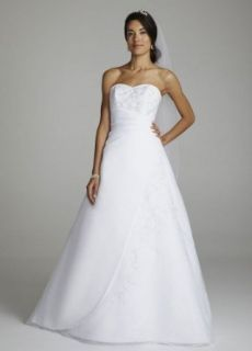 Strapless Organza A Line Wedding Dress with Side Draping at  Women�s Clothing store: Dresses