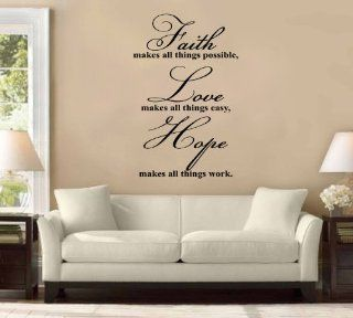 Faith Makes All Things Possible, Hope, Love Large Wall Decal Sticker Christian Quote Home Decoration Decor   Other Products