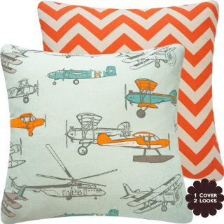 "Flight School Orange Collection   18"" Square Nursery Kid Decorative Throw Pillow Cover   Airplanes, Helicopters and Zig Zag   Bright Orange, Gray, Blue, Teal, and Cream Hues   1 Pillow Cover, 2 Looks   Boy Decor Pillow"