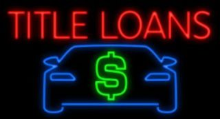 Title Loans Car Dollar Neon Sign   Made In USA