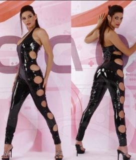 Shiny Black Catsuit, Dominatrix Bondage Bodysuit, Catwoman Costume Pants: Clothing