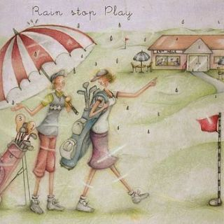 Rain Stop Play Female Golf Birthday Card By Pippins Gift Company