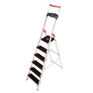Hailo 8896 001 Alu Sicherheits Haushaltsleiter Championsline 225 kg   6 XXL Stufen mit Ausziehbarem Sicherheits Halteb�gel und Multifunktionsschale: Küche & Haushalt