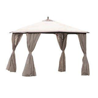 ... Siena Garden 104790 Pavillon Milos, 3 X 3 Meter Dach Mocca+Seitenteil  Natur L ...