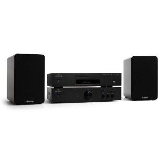 "Auna Elegance Tower ""Hifi Cinema Plus"" Stereo HiFi Verst�rker mit HiFi CD Player und ""Linie 20"" HiFi Lautsprecher (2 x 50W RMS, Radio, USB CD MP3 Player, + Kabelset) Pianolack Finish schwarz: Audio & HiFi"