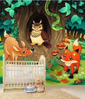 Fototapete Freundliche Waldtiere Kinder Nr.242 Gr��e 280x270cm Tapete Kinder Tiere Tier Küche & Haushalt