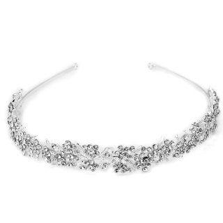 Versilbert Kristall Blumen Brautschmuck Diadem Haarband Haarreif Hochzeit Top: Küche & Haushalt