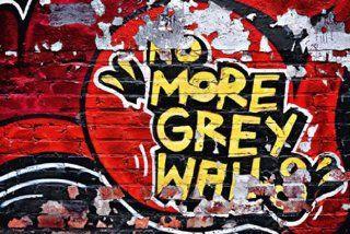 Fototapete Farbige Wand Graffiti Schrift Keine grauen W�nde mehr! rot gelb bunt   Gr��e 366 x 254 cm, 8 teilig: Küche & Haushalt