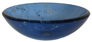 Novatto TID 269 Marmo Blue Marble Glass Vessel Sink, 16.5 Inch Diameter
