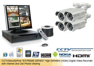 """EAGLE EYE"" (260 FOOT IN DARKNESS) ""EXTREME SERIES"" ""EAGLE EYE"" Complete High Definition (HDMI) 4 Camera Color Sony Super HAD Bullet Camera   700 Lines   6mm 60mm Super Long Range Lens Security Camera System (Up to 260 Feet in"
