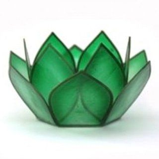 "3.5"" Capiz Shell Lotus Tea Light Candle Holder, Paradise, Rain Forest Green, CNDL270"