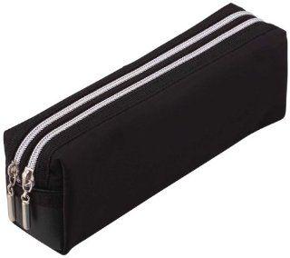 Lei double zipper color pencil case large black FY279B (japan import)