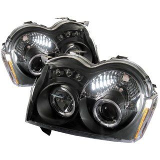 2005 2006 2007 Jeep Grand Cherokee Halo LED Projector Headlights   Black (Replaceable LEDs): Automotive