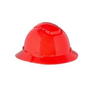 3M Full Brim Hard Hat H 805V, 4 Point Ratchet Suspension, Vented, Red Hardhats Industrial & Scientific