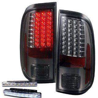 2008 2010 FORD F250 F350 SD REAR BRAKE TAIL LIGHTS SMOKED LEN+LED BUMPER RUNNING: Automotive