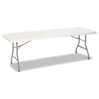 8 Foot Resin Folding Table, 96w x 30d x 29 1/4h, White/Pewter