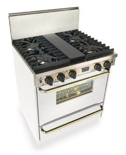 """Five Star Range WTN281 7WS 30""""   4 Sealed Burner All Gas Range With Convection Oven, Gas Broiler And Continuous Top Grates   White Finish With Brass Trim Accents Appliances"""