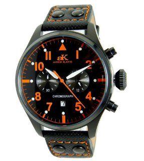 Adee Kaye AK7234 MIPB BLK/ORG Men's Black Leather Strap Chronograph Watch Adee Kaye Watches