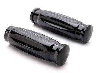 "Shotgun Shell Custom Black Motorcycle Handlebar Hand Grips (1"") Hand Handlebar Grips Grip Custom High Quality Black Billet Grips Fits Cruisers, Choppers, Harley Davidson, Suzuki, Kawasaki, Yamaha, Honda, Metric Motor Bikes, Hogs with 1"" inch Thro"