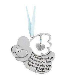 Personalized Guardian Angel Crib Medal   Boy: Jewelry
