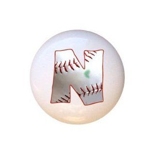 Baseball Alphabet Letter N Drawer Pull Knob   Cabinet And Furniture Knobs