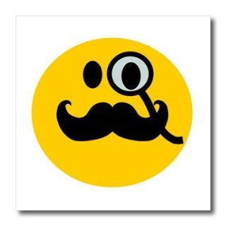 ht_113094_2 InspirationzStore Smiley Face Collection   Fancy smiley face with black mustache and monocle   yellow funny hipster smilie british gentleman   Iron on Heat Transfers   6x6 Iron on Heat Transfer for White Material: Patio, Lawn & Garden