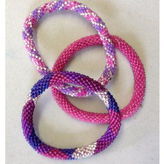 """Lily and Laura Bracelets   322.2 """"Suprise Party""""   Pink, Fuschia, Purple, Silver"""