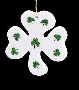 """Shop 3"""" Luck of the Irish Ivory Shamrock Porcelain Christmas Ornament at the  Home D�cor Store. Find the latest styles with the lowest prices from Kurt Adler"""