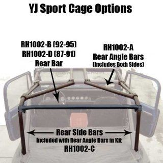 Rock Hard 4x4 RH1002 C Rear Side Bar and Angle Bar Kit for 1987 91 Jeep Wrangler YJ Automotive