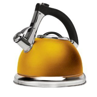 Primula Push and Serve Stainless Steel Whistling Tea Kettle, 3 Quart, Matte Marigold: Teakettles: Kitchen & Dining