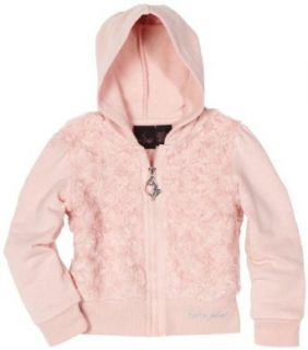 Baby Phat Girls 7 16 Faux Fur Hoodie Sweater, Light Pink, Small Clothing